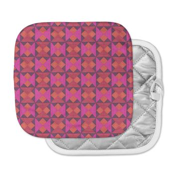 "Empire Ruhl ""A Quilt Pattern"" Pink Red Pot Holder"
