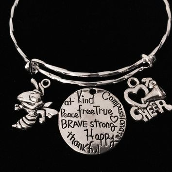 Love to Cheer Medina Bee Affections Adjustable Bracelet Silver Expandable Charm Bangle Trendy Gift