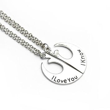 Star Wars Necklace Rebel Army Alliance Starbird i Love You Letter Pendants Necklaces Silver Plated Double Chain Necklace