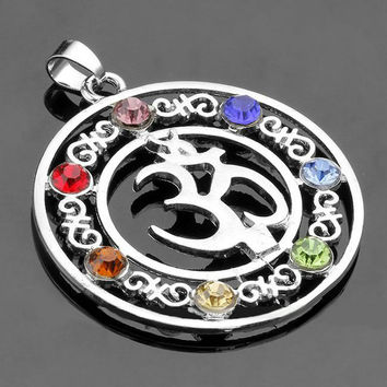 Natural 7 Colorful Stone Beads Reiki Chakra Healing Point Tree Of Life Charm Pendant