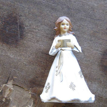 Vintage Christmas Tree Topper Angel with Hymnal made in British Hong Kong; Missing Wings~Lovely Hard Art Plastic Angel