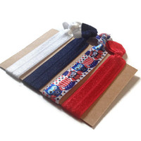 Elastic Hair Ties Patriotic Owls Red White and Blue No Crease Yoga Hair Bands