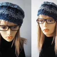 Chunky knit hat / Blue knit beret / Denim blue crochet hat / Crochet pillbox / Teen girl hat / Women winter hat / OOAK hat / Light blue hat