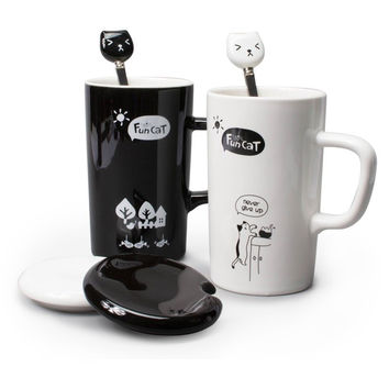 CUTE FUN CAT STYLE CERAMIC MUGS WITH LID & SPOON CARTOON CREATIVE MORING MUG MILK COFFEE TEA UNIQUE PORCELAIN CUPS 350ML SH209C