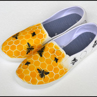 Women's Painted Slip-on Shoes, Womens Shoes -Bee Theme, Gifts for Her, Bee Shoes, Women's Fashion Sneakers, Honeycomb Pattern, Giftforher