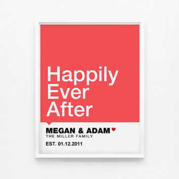 Personalized Modern House Warming Gift, Wedding Gift, Happily Ever After, Love Lives Here 8 x 10 Art Prints