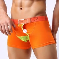 Funny Open Pouch Sexy Boxer Shorts Mens Underwear Comfy Cotton Fake Belt Print Gay Male Underpants Man Cueca Shorts Good Quality