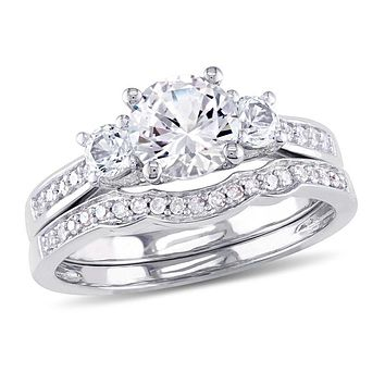 6.0mm Lab-Created White Sapphire and 1/8 CT. T.W. Diamond Three Stone Bridal Engagement Ring Set in 14K White Gold