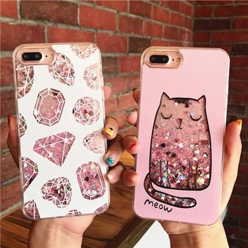 Dynamic Liquid Glitter Quicksand Case Colorful Diamond Cat Printed Cover For Apple iPhone 8 Plus 6 6S 7 Plus Mobile Phone Cases