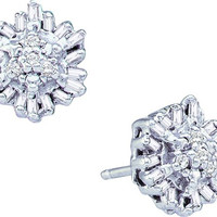 Round Bagguette Diamond Ladies Fashion Cluster Earrings in 10k White Gold 0.11 ctw