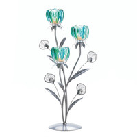 Peacock Bloom Candleholder - Triple