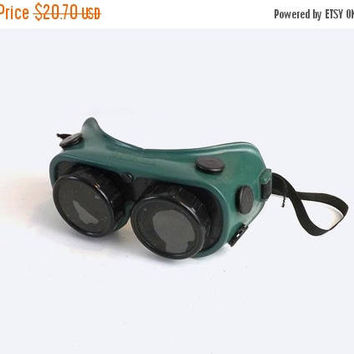 ON SALE - Gateway Welding Goggles, Vintage Green & Black Rubber Safety Glasses, Steampunk Eyewear, Dark Lenses