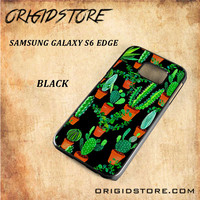 Cactus Black Pattern For Samsung Galaxy S6 Edge - Gift Present Multiple Choice