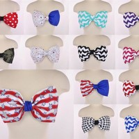 Chevron Zig Zag Stripe Bow Bandeau Crop Top Women Fashion Handmade Women Padded