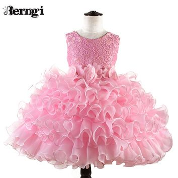 Berngi Baby Toddler Kids Dress for Party Wedding Girls Layered Tutu Cake Dress for Formal Occasions Prom Ball Gowns Dress