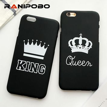 Trendy Fashion Couple King Queen Crown Phone Case For iPhone X 5 5S SE 6 6S Plus 7 7Plus 8 8Plus Slim Matte Stylish Hard PC Back Cover AT_94_13