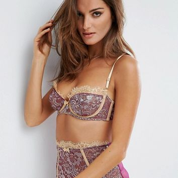 ASOS PREMIUM Ophelia Contrast Metallic Lace Underwire Set at asos.com