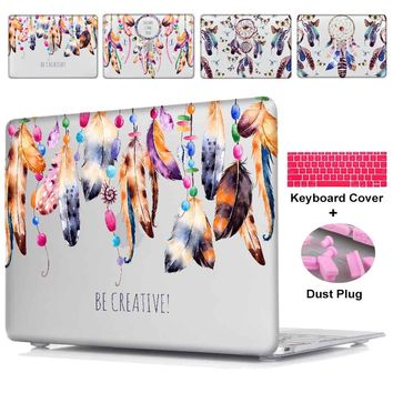 Redlai Laptop Case For Apple MacBook Air 11 13 Pro 13 15 Retian 12 inch Plastic Hard Case Feathers Dream Catcher+Keyboard Cover