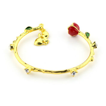 The Movie Beauty And The Beast Bracelet Gold Roses Beautiful Beast Bracelet The Girl Girl Halloween Gift Jewelry