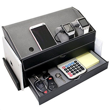 Faux Leather and Gray Velvet Multi-Device Charging Station and Desk Organizer on as Dock for Electronics like iPhones Apple Watches iPads Other Phones and Desk Items