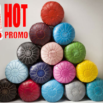 PROMO!!! set of 3 MOROCCAN Leather POUFS,Ottomans,Footstool,Genuine Leather,100% handmade.Ready to give your living room a magical touch!,