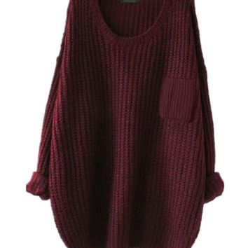 Crew Neck Knit Sweater Loose Pullover Cardigan Christmas Gift