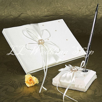 Free shipping,Set of 2pcs White Crystal and Pearl Satin Wedding Guest Book&Pen Holder Set Wedding Party Decorations SWD14