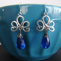 Blue Loop and Swirl Dangle Earrings