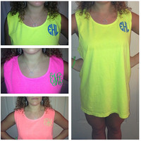 Monogrammed Comfort Colors Tank Top/ Swimsuit Cover by christylous