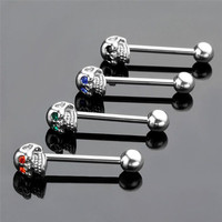 4Pcs 316L Stainless Steel CZ Gem Punk Skull Tongue Ring Barbell Piercing Body Jewelry