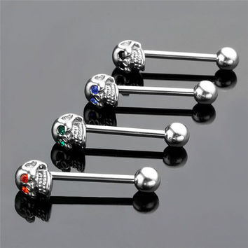 4Pcs 316L Stainless Steel CZ Gem Punk Skull Tongue Ring Barbell Piercing Body Jewelry SM6