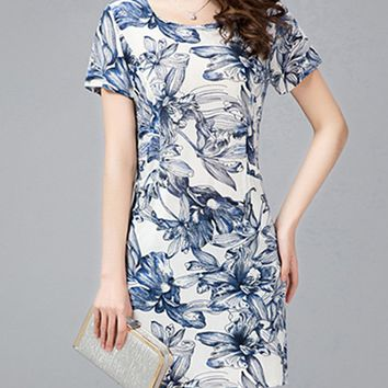 Streetstyle  Casual Delightful Floral Printed Round Neck Bodycon Dress