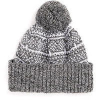 GREY FAIRISLE PATTERN BEANIE - Hats   - Shoes and Accessories