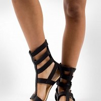 ROME-04-3-4 Strappy Gladiator Sandals Women Sandals BLACK Bare Feet Shoes