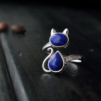 CMajor 925 sterling silver jewelry classical style natural lapis lazuli jewelry adjustable cat rings for women promotion