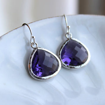 Large Tanzanite Earrings Silver Plated Purple Glass Pendant - Wedding Earrings - Bridal Earrings - Bridesmaid Earrings