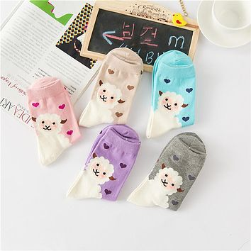 New cute Sheeps love candy color cotton sock summer style women's socks women's thin sock slippers