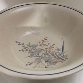 "Noritake Kilkee Keltcraft 9"" Vegetable Cream Bowl w/ Blue Pink Plants Butterfly"
