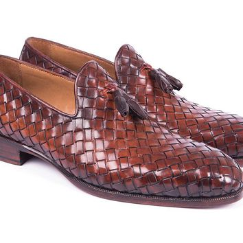 Paul Parkman Woven Leather Tassel Loafers Brown (ID#WVN88-BRW)