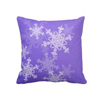 Deep Blue Snowflakes Christmas Pillow from Zazzle.com