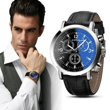 Luxury Fashion Faux Leather Mens Blue Ray Glass Quartz Analog Watches