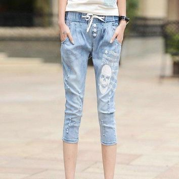 Calf Length Cotton Stretch Women Distressed Washed Hole Drawstring Letter Skull Jeans