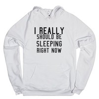 sleeping right now-Unisex White Hoodie
