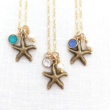 Starfish Necklace, Sea Star Jewelry, Gold Star Necklace, Beachy Gifts, Star Fish Beach Vacation Mode