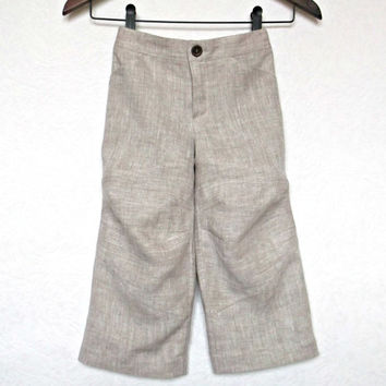 Boy linen pants Light shades childrens summer trousers Grey cargo whide legs  kids  eco outfit