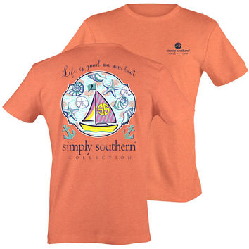 Simply Southern Collection Life Is Good Sail Boat Sea Shell T-Shirt