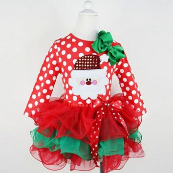 2016 Christmas dress girls costume kids tutu party dresses for girl face santa evening winter clothes size for 3 4 5 6 7 years