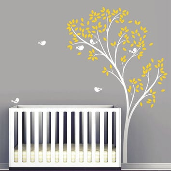 Large Spring Tree Birds Wall Decal Vinyl Wall Stickers Baby Nursery Bedroom Wall Decor Living Room Wall Mural 126 x 194 CM D-68