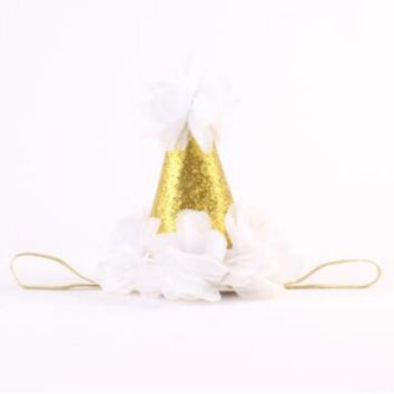 White and Gold Birthday Baby Hat