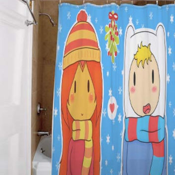 Adventure Time With Finn and Jake Christmas Advance, special custom, shower curtains, available size, amazing gift